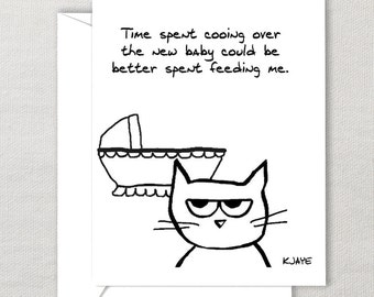 Angry Cat and the New Baby - Funny Baby Shower Card for Cat Lovers and New Parents