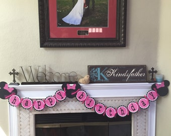 Pink polka dot Minnie Mouse Happy Birthday  banner