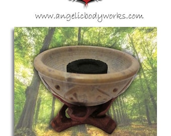 Soapstone Incense and Charcoal Burner with a hand carved wooden 'cobra' tripod
