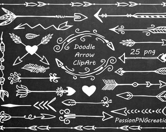 White Hand Drawn Arrows Clipart, Doodle arrow clip art, Tribal Arrow Clipart, digital clipart, PNG, For Personal and Commercial Use