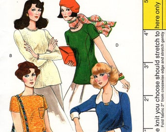 Free Us Ship Sewing Pattern Vogue 8978 Vintage Retro 1970s 70s Knit Tops 4 Neck Variations Collar Pullover Uncut Size 6 Bust 30. 5