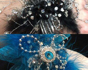 Crystal Feather Corsage