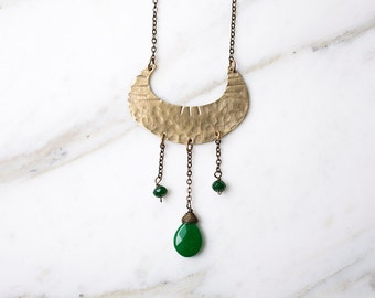 Tribal crescent moon necklace, brass & green gemstones, statement