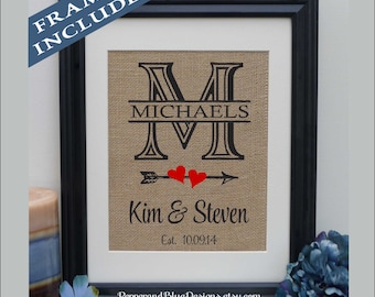 Burlap Print • Anniversary Gift for Wife • Gift • Engagement Gift • Wedding Gift • Gift for Wife  • Cotton Anniversary Gift (pnb201m)