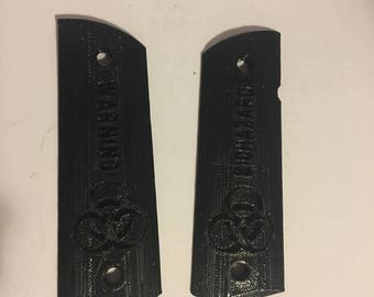 Full Size 1911 Biohazard Grips for full size Colts 3D printed