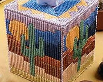 CACTUS MOON - Boutique Size Tissue Box Cover - Desert - Nature - Handmade