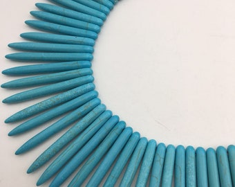 """Nice Howlite Blue Turquoise Spike Graduated Loose Beads Size 5x20mm to 5x45mm 15.5"""" Long  I-TUR-3192018"""