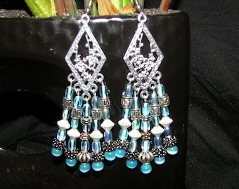 Extra Long Chandelier Earrings in Baby Blue glass and Silver Findings