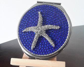 Rhinestone Starfish Compact Mirror