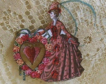Valentines Day Decor - Hanging Paper Doll Digital INSTANT Download DIY Printable Bridal Shower Cake Topper - Center Heart Spins  CS10C