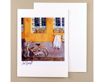 Bike Art, Note Cards, Bicycle, Paper Goods, Travel, note card, Ephemera, Fine art, Bicycle note card, Bike watercolor card, Florence Italy