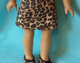 American Made 18 inch Doll  Leopard Print Skirt and Shoes