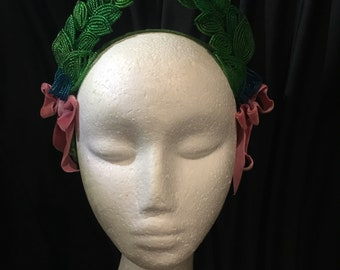 Handmade Napoleonic wreath headpiece using 1920s vintage glass beaded leaves. Perfect wedding or bridal accessory