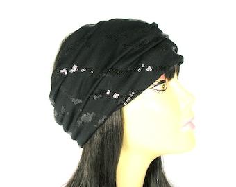 Black Sequin Head Wrap Black Sequin Headband Sequined Head Wraps Black Sequin Hair Wrap Womans Head Wrap Boho Head Wrap Bling Head Wrap