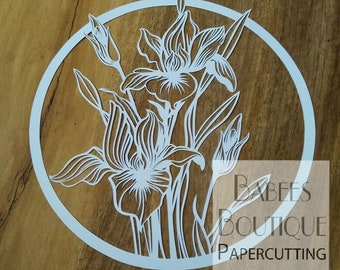 Iris Papercutting Template | by Babees Boutique Papercutting | floral template | Personal & Commercial use