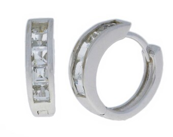 White Gold 2.5 Carat White Sapphire Princess Cut Hoop Earrings .925 Sterling Silver