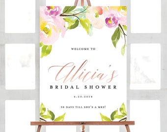 Bridal Welcome Sign, Floral Bridal Shower Welcome Sign, Greenery, Botanical, Flowers, Pastels, Welcome Sign | Digital File Customizable