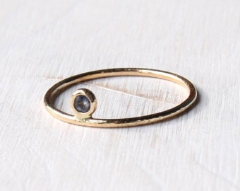 Sapphire gold ring, sapphire floating ring, blue sapphire ring in solid gold/ thin solid gold sapphire ring, gypsy setting sapphire ring