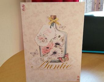 Auntie Birthday Card - luxury quality bespoke UK handmade