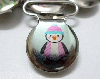 Penguin scarf pacifier clip