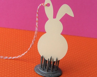 12 Floppy Ear Easter Bunny Tags in Cream