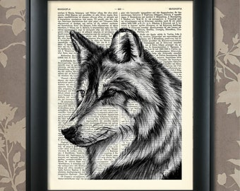 Wolf's head Print, Wolf Poster, Wolf Print, Wolf art, Wolf wall art, Wolf Dictionary Art, Wildlife decor, Wildlife Art, Wildlife Print