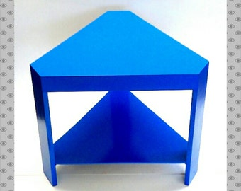 Triangle Table Cobalt Blue Side Table Shield Painted Furniture Living Room Decor Superman Table Mid Century Modern Home Nightstand End Table