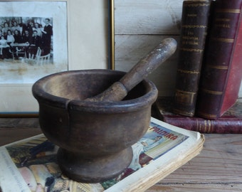 Antique French wooden worn pestle and mortar grinder herbs spices spells mixtures circa 1910's