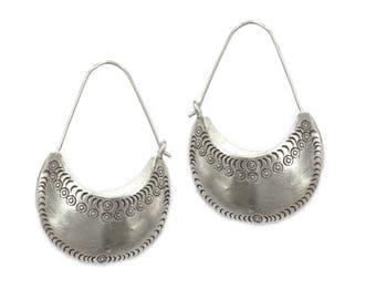 Sterling Silver Half Moon Boho Ethnic Earrings, Handmade Tribal bag shape 3d Crescent Bohemian Gypsy hoop Earrings, Gift for Her