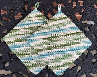Crochet Hot Pads, Crochet Pot Holders, Thick Pot Holders, Kitchen Gift, Teal Green Off White, Handmade, Housewarming, Trivets, Bridal Shower