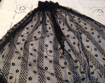 Antique black victorian lace head covering