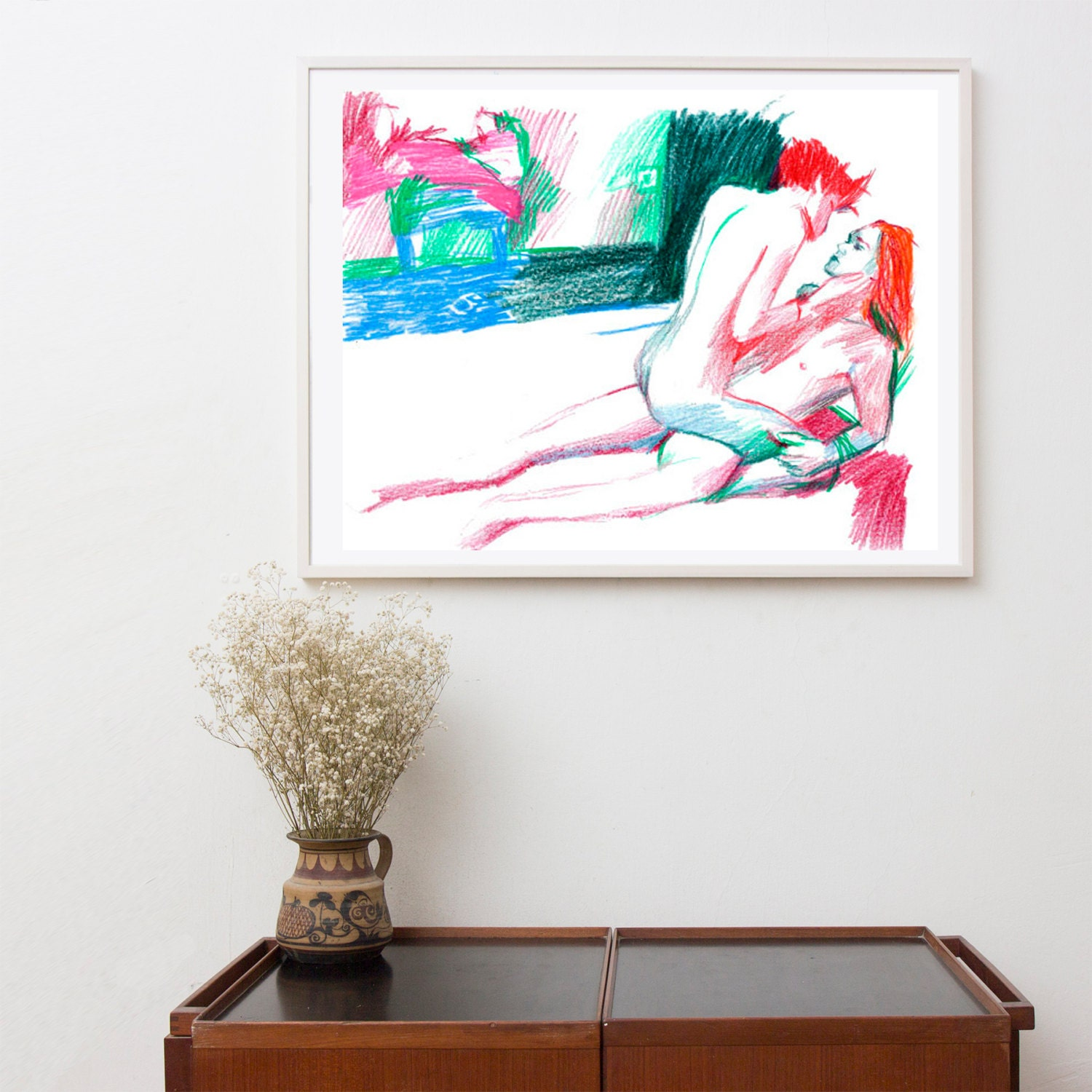 Home Quirks Differences In Decorating By Gender An: Bedroom Decor Gay Art Couple Gay Sex Pop Art Original Art