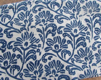India Block Print Indigo and White Floral Print