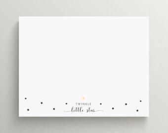 twinkle little star note card, twinkle little star stationery, twinkle stationery, little star note card, star note card, personalized