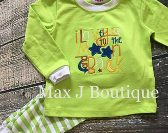 I love you to the moon and back pajamas- Monogrammed Appliqué Green Stripe Spring pjs