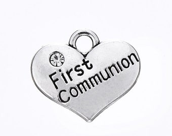 First Communion Charms, 2 Sided, Antique Silver Plated (1M-154)