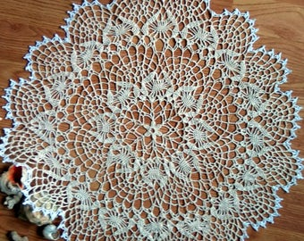 "Off-White crochet doily Round 50 cm / 21"". Crocheted Doily."