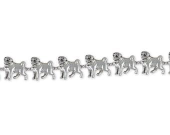 Pug Jewelry Sterling Silver Pug Bracelet Handmade Dog Jewelry PD44-BR