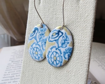Enamel  Blue Delft Flower Earrings dangle with Sterling Silver Ear wires with gold accents