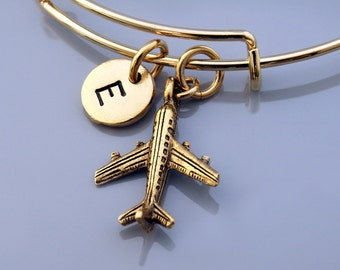 Airplane bangle, Jet bracelet, plane charm, pilot charm, Expandable bangle, Personalized bracelet, Charm bangle, Monogram, Initial bracelet