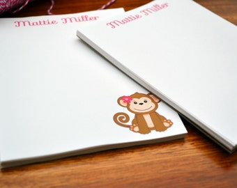 Personalized Monkey Notepads /Personalized Notebook / Personalized Monkey Note Pads/ Set of Notepads /  Set of 2 Monkey Notepads