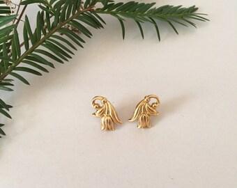 golden tulips earrings | small tulips studs