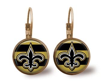 Fleur de Lis Earrings Tile Earrings Brass Earrings Brass Jewelry Tile Jewelry New Orleans Saints Jewelry Football Jewelry Silver Jewelry