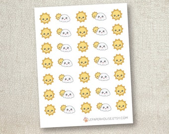 Weather stickers, 35 x matte or glossy planner stickers, life planner stickers, erin condren filofax, mambi happy planner