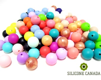 12mm - Bulk Lot of 50 Loose Silicone Beads for Silicone Teething Nursing Necklace for Baby.  Wholesale Discount Bulk Canada.