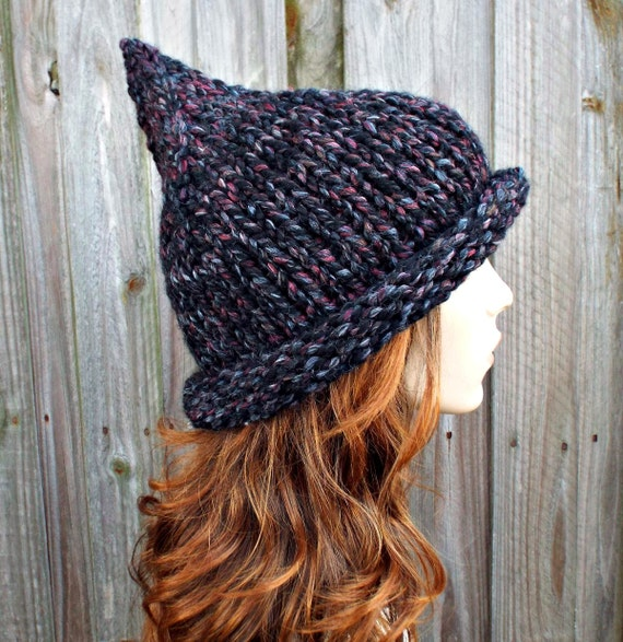 Grey Womens Hat - Grey Gnome Hat Blackstone Black Charcoal Grey Knit Hat - Grey Hat Black Witch Hat Womens Accessories Winter Hat