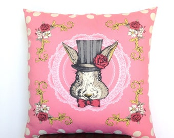 Cushion Cover. Kid's Room Decor. Japanese Fabric. Charming. Old World. Grey Bunny. Top Hat. Bow Tie. Whiskers. Floor Cushion. Made to Love.