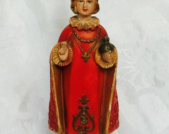 Rare and Red 1940s Infant Jesus of Prague Statue