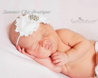 Baby Headband, Infant Headband, Newborn Toddler Headband, White Baby Headband White, Baptism Headband, Christening Headband, White Infant