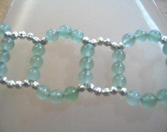 Natural Aventurine Gemstone Bracelet, Seafoam Green Stone Bead Bracelet, Sea Foam Green Handwoven Beach Bracelet